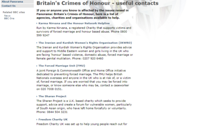 BBC's useful contacts list for crimes of honour